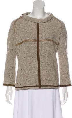 Isabel Marant Leather-Trimmed Virgin Wool Sweater