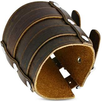 NRG Leather Bracelets Genuine Brown Leather Double Belt Buckle Biker Bracelet Length: 10.8""