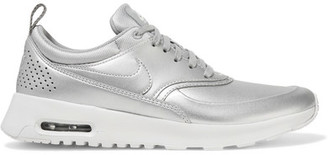 Nike - Air Max Thea Metallic Leather Sneakers - Silver $115 thestylecure.com