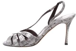 Manolo Blahnik Eel Skin Slingback Sandals