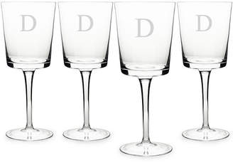 Cathy's Concepts CATHYS CONCEPTS Monogram Etched Glass Set of 4 Contemporary Wine Glasses