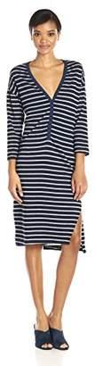 Sundry Women's Stripe L/s Henley Dress