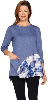 Logo By Lori Goldstein LOGO Lounge by Lori Goldstein French Terry Knit Top with Printed Flounce