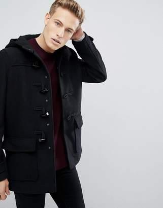 Burton Menswear wool duffle coat in black