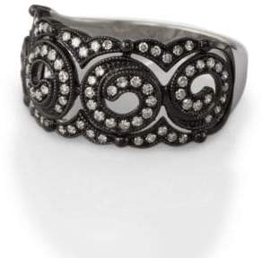 Effy Black Rhodium and Diamond Ring in 14 Kt. White Gold