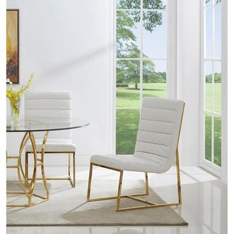 Best Master Furniture Gunnar Gold Base Leather Match Side Chairs (Set of 2)
