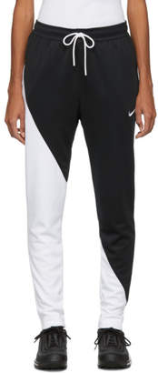 Nike Black and White Asymmetric Colorblocked Lounge Pants