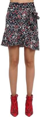 Etoile Isabel Marant Ruffled Floral Print Linen Mini Skirt