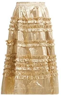 Molly Goddard - Sabina Ruffled Taffeta Midi Skirt - Womens - Gold
