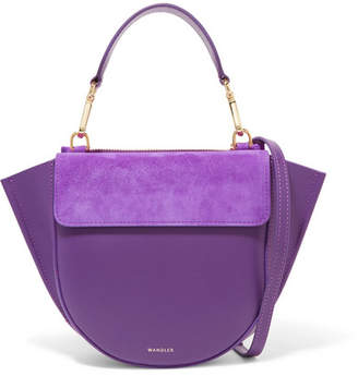 Hortensia Wandler Mini Leather And Suede Shoulder Bag - Purple