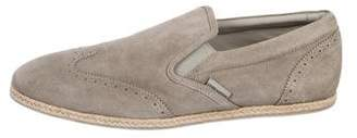Louis Vuitton Suede Brogue Slip-On Sneakers