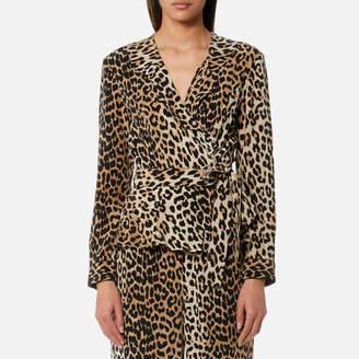 Ganni Women's Fayette Silk Top Leopard