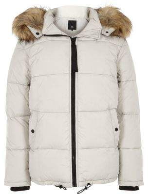 River Island Light grey detachable fur hood puffer coat