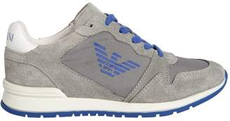 Armani Junior Logo Nylon & Suede Running Sneakers