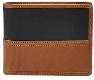 Fossil Tate Rfid Large Coin Pocket Bifold Wallet Cognac
