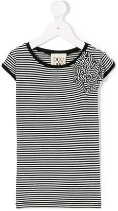 Douuod Kids floral motif striped T-shirt