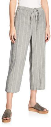 Eileen Fisher Striped Wide-Leg Cropped Drawstring Pants, Plus Size