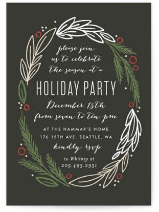 Holiday Wreath Holiday Party Invitations