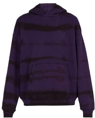 Amiri Distressed Tie Dye Hooded Cotton Sweatshirt - Mens - Purple