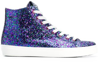 Leather Crown glitter hi-top sneakers