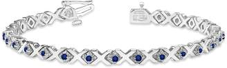 XOXO omega jewellery 1.50 Ct Multi-Color Gemstone Chained Line Bracelet In Solid 14K White Gold (-sapphire)
