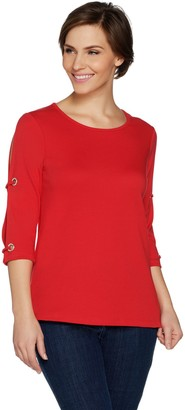 Factory Quacker Split Sleeve Knit Top with Rhinestone Grommet Detail