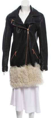 Cédric Charlier Shearling-Accented Leather Coat