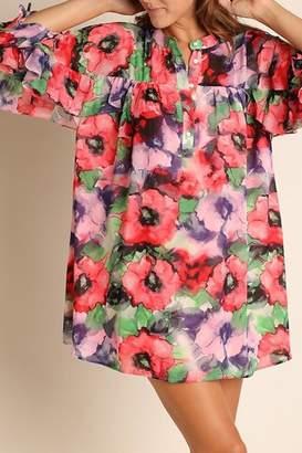 Umgee USA Cherry-Mix Floral-Print Dress