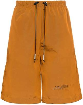 A-Cold-Wall* logo print flared nylon shorts