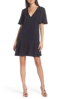 Charles Henry Flutter Sleeve Shift Dress