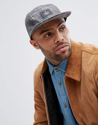 Asos 5 Panel Cap In Gray And Camel Check