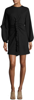 Tibi Bond Ruffled Knit Mini Dress, Black