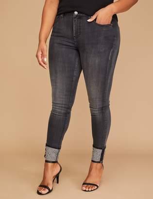 Lane Bryant Power Pockets Super Stretch Skinny Ankle Jean - Faux Pearl Cuff