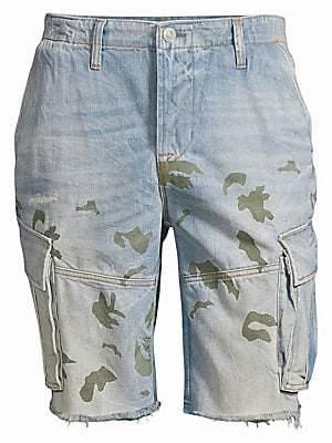 Hudson Jeans Men's Camo Print Denim Cut-Off Shorts