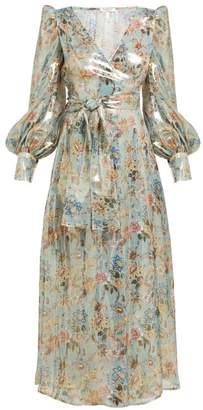 Françoise Francoise - Floral Print Silk Blend Lame Wrap Dress - Womens - Silver