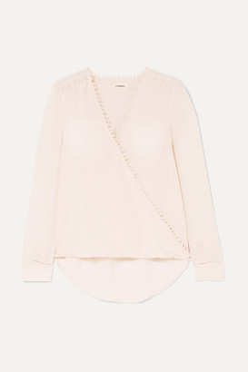 L'Agence Perry Wrap-effect Crepe De Chine And Fil Coupé Silk-georgette Blouse - Cream