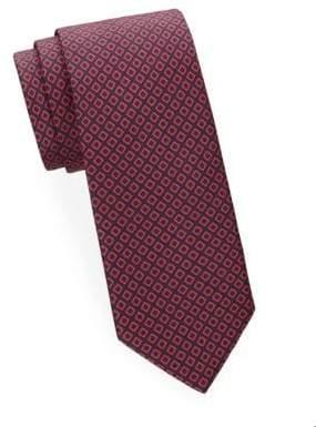 Brioni Square Print Silk Tie