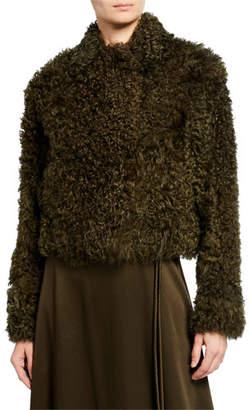 Rosetta Getty Cropped Shearling Fur Peacoat