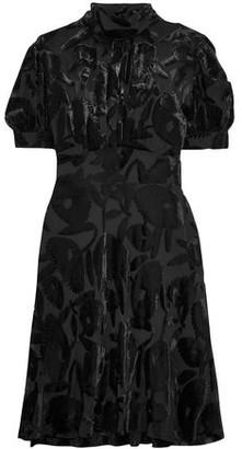 McQ Gathered Devoré-Chiffon Mini Dress
