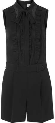 RED Valentino Tuta Ruffled Crepe, Silk Crepe De Chine And Point D'esprit Tulle Playsuit - Black