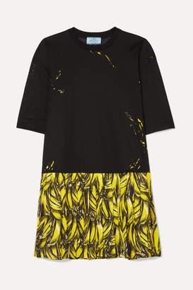 Prada Pleated Printed Crepe De Chine Mini Dress - Black
