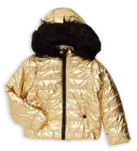 Urban Republic Little Girl's Faux Fur Trim Metallic Fill Coat