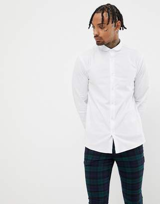 Twisted Tailor super skinny fit shirt in white in curved collar