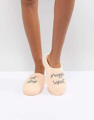 Asos DESIGN Nearly Bedtime Slogan Slippers