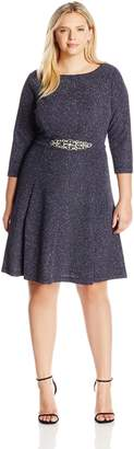 Eliza J Women's Plus Size Fit and Flare Dress with Beaded Detail At Waist