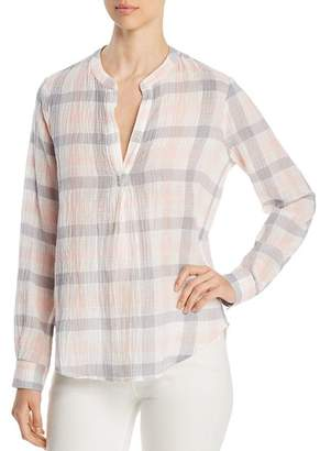 Three Dots Plaid Gauze Shirt