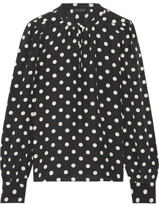 Marc Jacobs Polka-dot Silk Crepe De Chine Blouse - Black