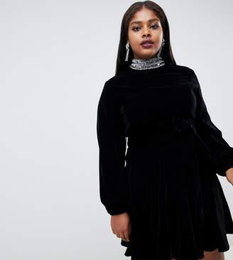 Asos DESIGN Curve EXCLUSIVE velvet mini skater dress with 70's sleeve and embellished neck