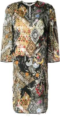 Etro frayed abstract print dress