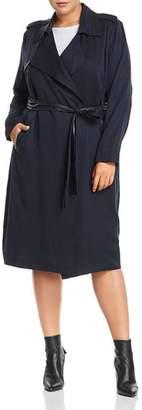 Badgley Mischka Plus Faux-Leather Trim Trench Coat